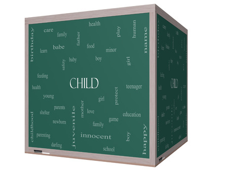 Child Word Cloud Concept on a 3D cube Blackboard with great terms such as boy, girl, baby and more.