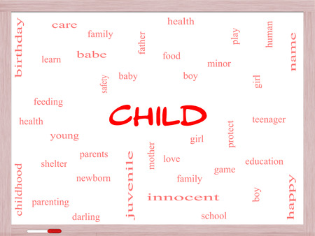 Child Word Cloud Concept on a Whiteboard with great terms such as boy, girl, baby and more.