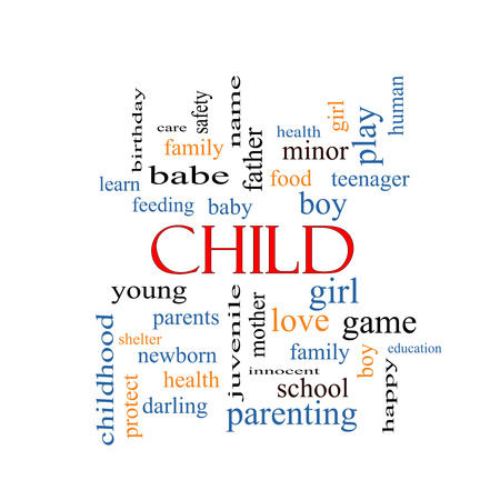 Child Word Cloud Concept with great terms such as boy, girl, baby and more.