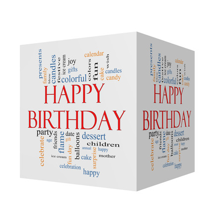 Happy Birthday 3D cube Word Cloud Concept with great terms such as presents, cake, ice cream, gifts and more.