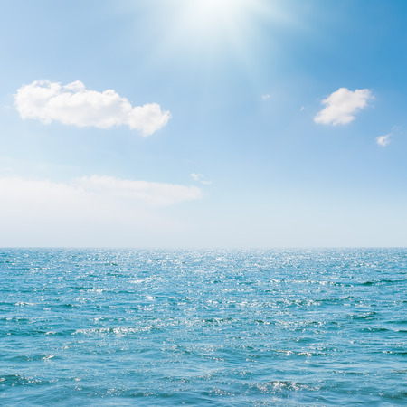 Photo for sun in blue sky over sea - Royalty Free Image