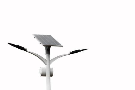 Foto de solar powered street light isolate on white background with Clipping path - Imagen libre de derechos