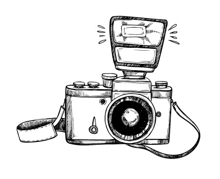 Photo pour Hand drawn vector illustrations. Retro camera with flash and lace. Photographic equipment. Perfect for invitations, greeting cards, posters, prints - image libre de droit