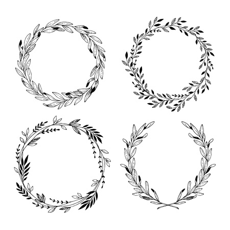 Illustration for Hand drawn vector illustration. Vintage decorative laurel wreaths. Tribal design elements. Perfect for invitations, greeting cards, blogs, prints and more. - Royalty Free Image