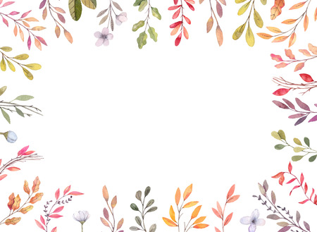 Photo pour Hand drawn watercolor illustrations. Autumn Botanical border. Set of fall leaves and branches. Floral frame. Perfect for invitations, greeting cards, blogs, posters, prints - image libre de droit