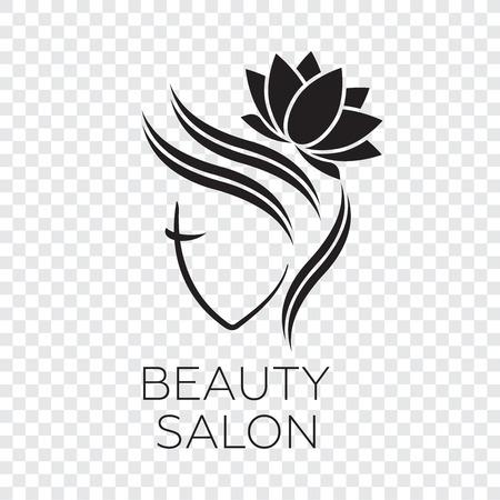 Photo pour Beautiful woman vector logo template for hair salon. Logo vector cosmetic procedures, spa center - image libre de droit
