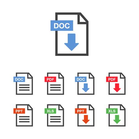 Illustration pour Document icon set. File Icons. PDF file download icon - image libre de droit