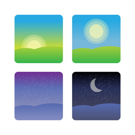 Illustration for Nature landscape at times of day. Icons morning, night cycle  - Royalty Free Image