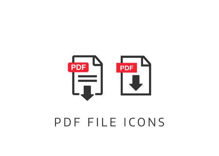 Illustration pour PDF Document icon set. File Icons. PDF file download icon - image libre de droit