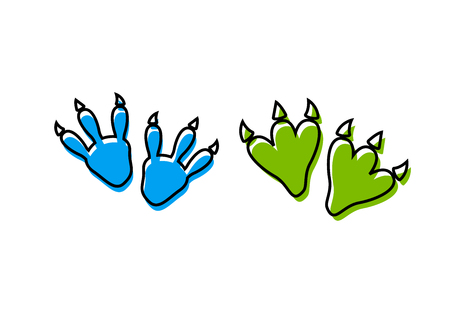 Ilustración de Dinosaur footprint tracks vector set illustration. Dinosaur footprint vector - Imagen libre de derechos