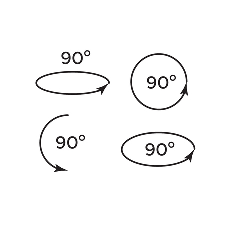 Illustration for Set of rotate 45, 90, 180 and 360 icons. Rotation degree 180 - Royalty Free Image