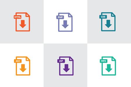 Illustration pour File download icon. Document icon set. PDF file download icon - image libre de droit