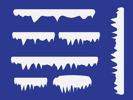 Illustration pour Snow and ice vector frames. Winter cartoon snow caps, snowdrifts and icicles. Illustration of snowcap for web design - image libre de droit