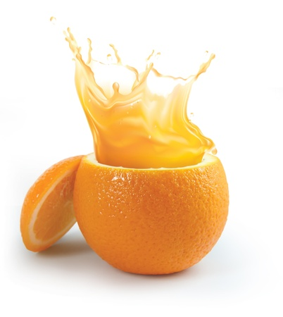 Photo pour Orange juice splashing isolated on white - image libre de droit