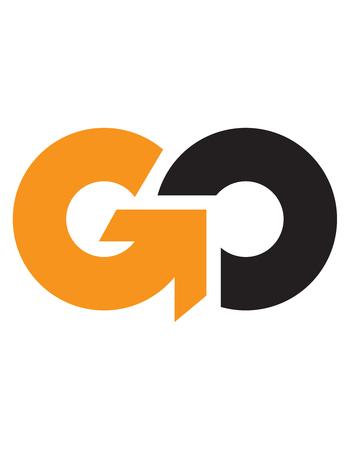 Ilustración de Initial letter GO, uppercase logo - Imagen libre de derechos