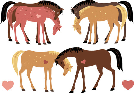 Set of horses in love