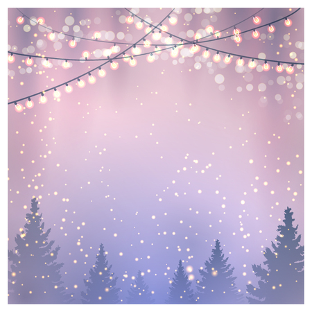 Illustration for Christmas background with fir trees and christmas lights.  - Royalty Free Image
