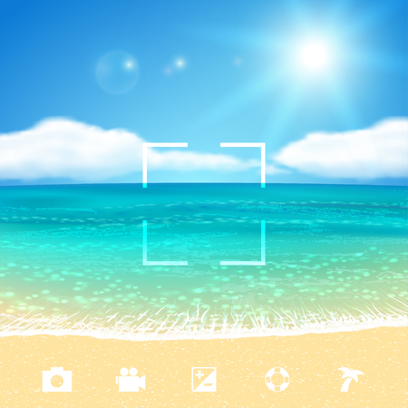 Illustration for Sunny Seascape with Beach. - Royalty Free Image