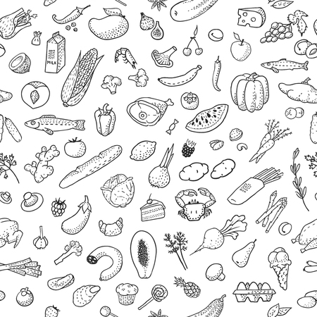 Seamless background with hand drawn food, black and white. Vector illustration, eps10.