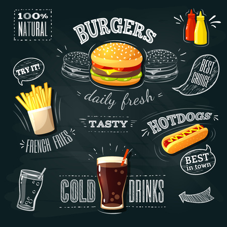 Ilustración de Chalkboard fastfood ADs - hamburger, french fries and hotdog. Vector illustration, - Imagen libre de derechos