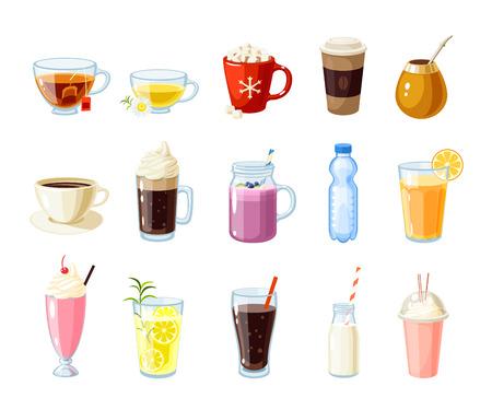 Ilustración de Set of cartoon food: non-alcoholic beverages - tea, herbal tea, hot chocolate, latte, mate, coffee, root beer, smoothie, juice, milk shake, lemonade and so. Vector illustration, isolated on white. - Imagen libre de derechos