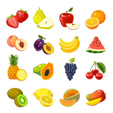 Ilustración de Set of colorful cartoon fruit icons: strawberry icon/pear icon/apple icon/orange icon/lemon icon/banana icon/watermelon icon/pineapple icon/papaya icon/cherry icon, mango and so. Isolated on white. - Imagen libre de derechos