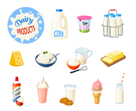 Illustration pour Set of cartoon food: dairy products - milk, yogurt, cheese, butter, milkshake, ice cream, whipped cream and so. Vector illustration, isolated on white. - image libre de droit