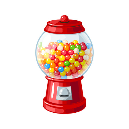 Illustration pour Transparent round glass candy dispenser with colorful bubble gum. Vector illustration flat icon isolated on white. - image libre de droit