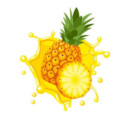 Illustration pour Colorful fruit design. Pineapple yellow juice splash burst. Vector illustration cartoon flat icon isolated on white. - image libre de droit