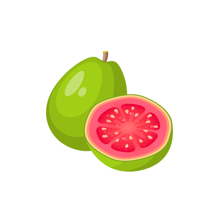 Ilustración de Summer tropical fruits for healthy lifestyle. Guava, whole fruit and half. Vector illustration cartoon flat icon isolated on white. - Imagen libre de derechos
