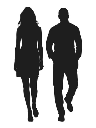 Illustration for Vector illustration of fashion people silhouette - Royalty Free Image