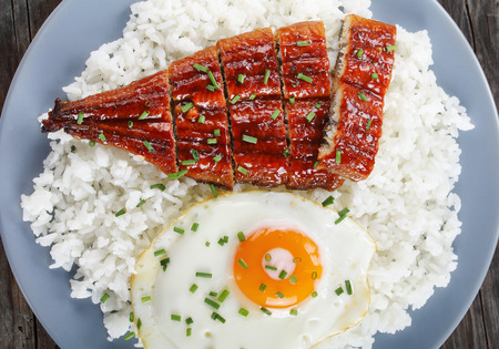 Foto de close-up of broiled unagi or eel with tare sauce sprinkled with chopped chives served with rice and sunny side up fried egg on plate, japanese cuisine, view from above - Imagen libre de derechos