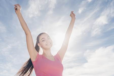 Photo for happy young girl enjoys a good workout outdoors, loves sports and a healthy lifestyle - Royalty Free Image