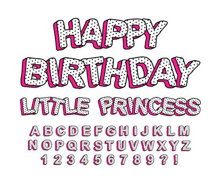 Illustration pour Set of cute 3D letters of the English alphabet. Suitable for banner design, picture for birthday invite card. - image libre de droit