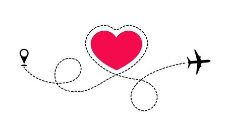 Illustration pour The route of love travel by plane. The plane draws a dotted lines the shape of the heart. Love adventure. - image libre de droit