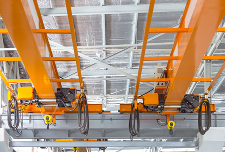 Photo for Factory overhead crane installation on rail, can movement to every where in factory area  - Royalty Free Image