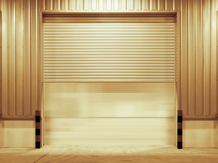 Shutter door outside factory gold color tone