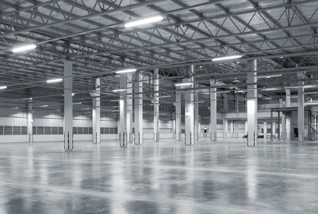 Photo for Factory background with concrete floor, night scene - Royalty Free Image