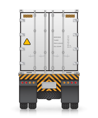 Illustration pour Cargo container on truck, isolated on white background. - image libre de droit