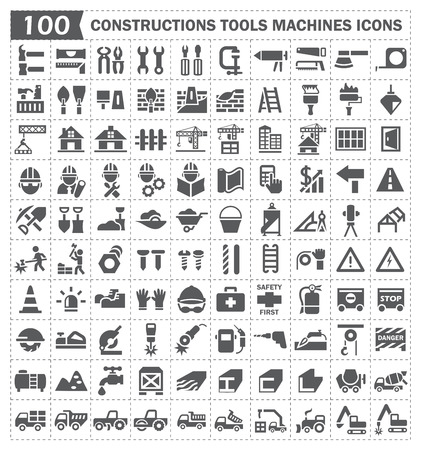 Illustration pour 100 icon, constructions tools and machines. - image libre de droit
