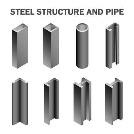 Illustration pour Steel structure and pipe isolated on white background. - image libre de droit