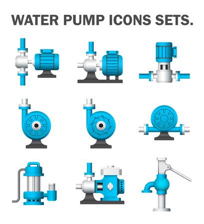 Illustration pour Water pump sets isolated on white background. - image libre de droit