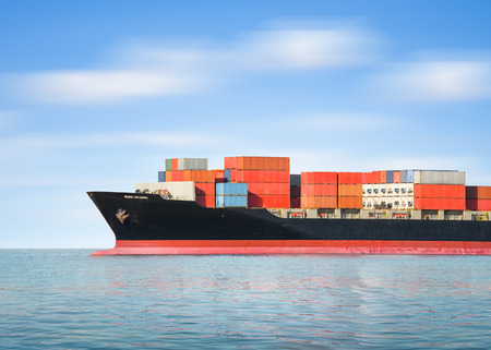 Photo for Cargo ship and cargo container in sea with sky background. - Royalty Free Image