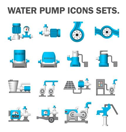Illustration pour Water pump vector icons sets. - image libre de droit