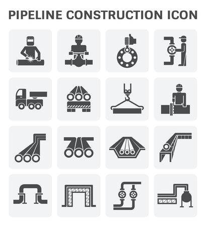 Illustration pour pipeline construction industry vector icon set design isolated on white background. - image libre de droit
