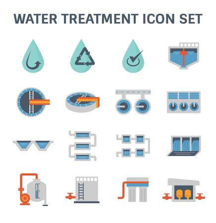 Illustration pour Water treatment plant and water filter vector icon set design. - image libre de droit