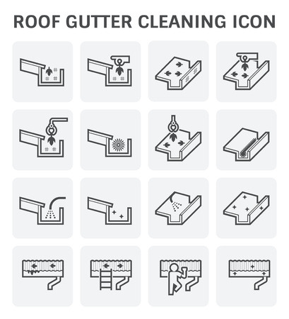 Ilustración de Roof gutter cleaning and maintenance icon set. - Imagen libre de derechos