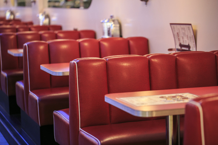 Photo for Red seats in a american restaurant - Royalty Free Image