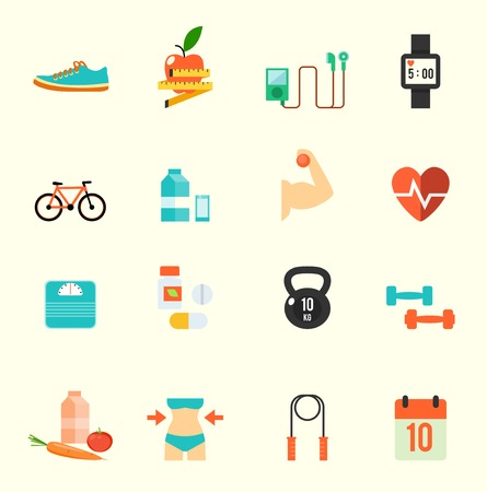 Photo pour Fitness and health icons with white background , eps10 vector format - image libre de droit