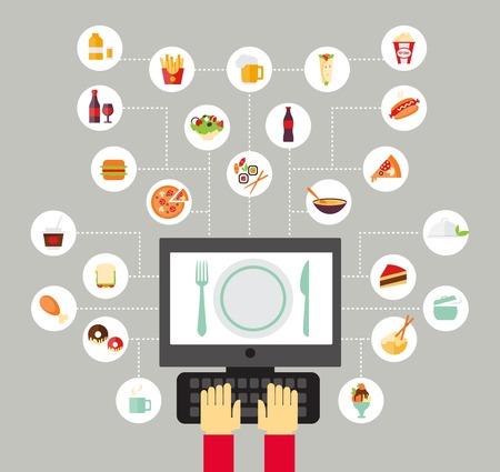Ilustración de Food background - food blogging, reading about food, searching for recipes or ordering food online. Flat design style. - Imagen libre de derechos